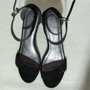 CL Laundry Black Rhinestone Embellish Wedge Sandal